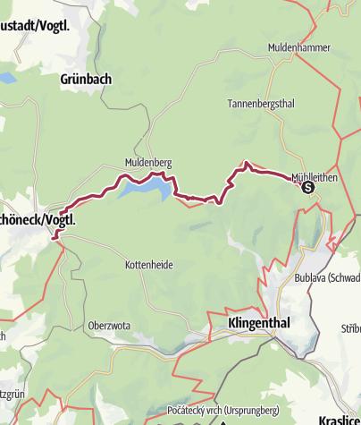 """Map / Kammweg Etappe 13 """"Von Muehlleithen nach Schoeneck"""""""