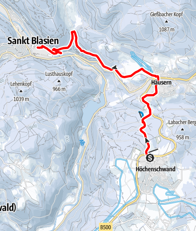 Map / Höchenschwand: Winter hike to the cathedral city of St. Blasien