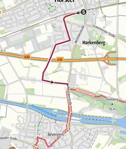 Karte / Zugangsweg Hermannshöhen: Hörstel