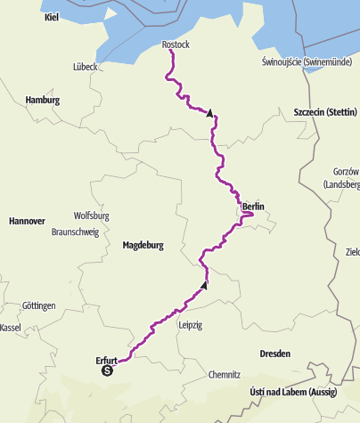 Karte / Erfurt - Berlin - Rostock