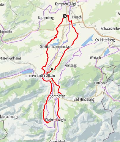 Karte / Gipfelanfahrt – den Allgäuer Hochalpen entgegen