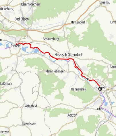 Karte / Weser-Radweg, 05.Etappe: Von Hameln bis Rinteln