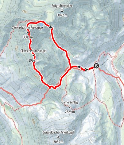 Karte / Via Mandani - Die Kletterroute auf dem Grat zwischen Gleirscher- Zwiselbach Roßkogel