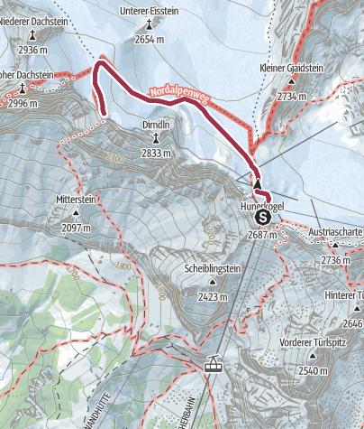 Karte / Schneespaziergang zur Dachsteinwarte