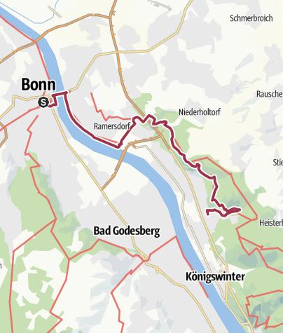 Karte / Rheinsteig Etappe 1: Von Bonn nach Oberdollendorf