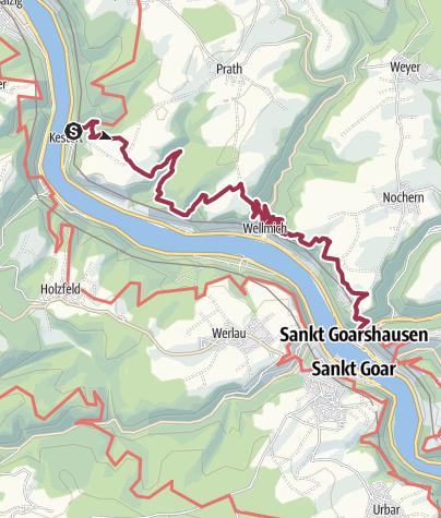 Karte / Rheinsteig Etappe 16: Von Kestert nach St. Goarshausen