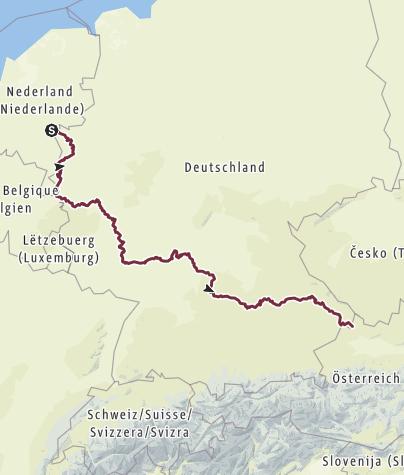 Karte / Europäischer Fernwanderweg E8 - deutscher Abschnitt vom Niederrhein bis nach Niederbayern