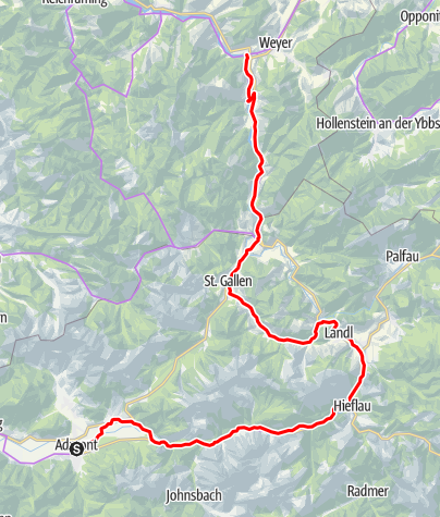 Karte / Etappe 04 Ennsradweg Admont - Weyer/Kastenreith