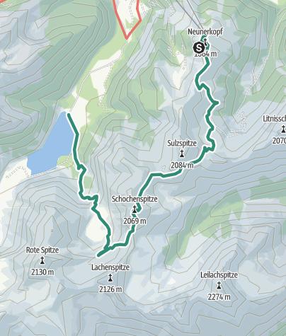 Karte / Neunerköpfle - Schochenspitze - Landsbergerhütte 2.069 m