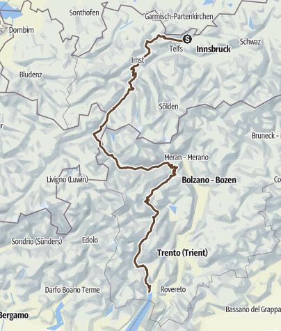 Karte / Mittelschwerer Alpencross X10 via Brenta Dolomiti Aktualisiert am 15.09.2015