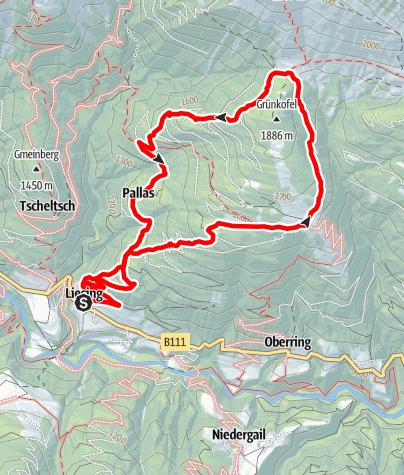 Karte / Oberrasteralm – Motalpe – Assing – Liesing