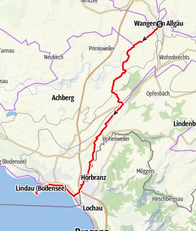 Karte / Von Wangen nach Lindau an den Bodensee
