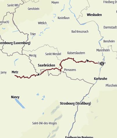 Karte / Jakobsweg Speyer-Metz Nordroute