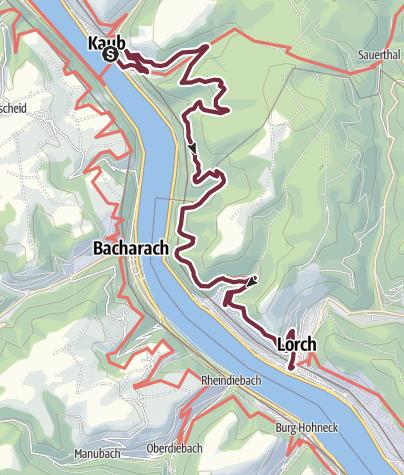 Karte / Rheinsteig 16. Etappe Kaub - Lorch (Nord-Süd)