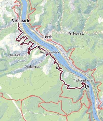 Map / RheinBurgenWeg 02. Etappe Trechtingshausen-Bacharach (Süd-Nord) - Derzeit nur zwischen Niederheimbach und Bacharach begehbar.