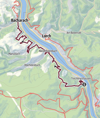 Map / RheinBurgenWeg Stage 2: Trechtingshausen - Bacharach (South - North)