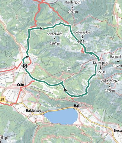 Karte / Füssner Jöchle und weiter zur Sonnenalm