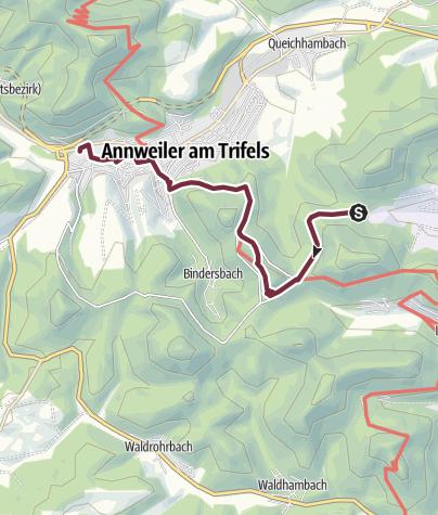 Karte / 03 Leinsweiler - Von Platz Nr. 3 Leinsweiler zu Platz Nr. 4 nach Annweiler