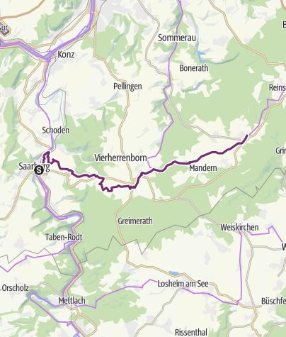 Karte / Hunsrück-Radweg 01. Etappe: Saarburg - Kell am See
