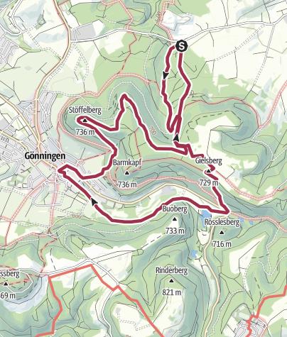 Karte / Reutlingen - Faszinierender Tuffstein und Gönninger Seen