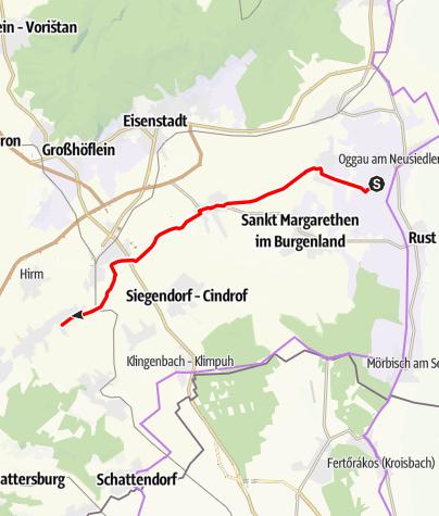 Karte / Verbindung Neusiedler See Radwanderweg (Oggau)- Koglweg