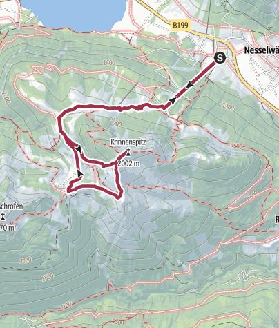 Karte / Krinnenspitze in Nesselwängle