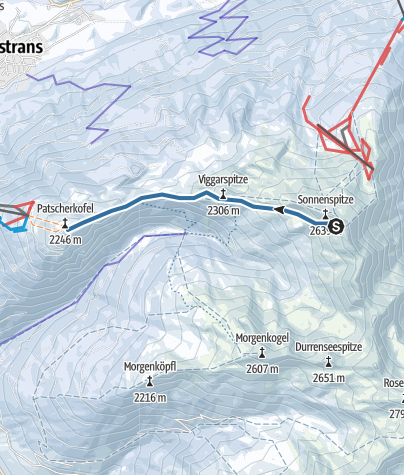 Map / Snowshoe- Hike from the Glungezer to the Patscherkofel