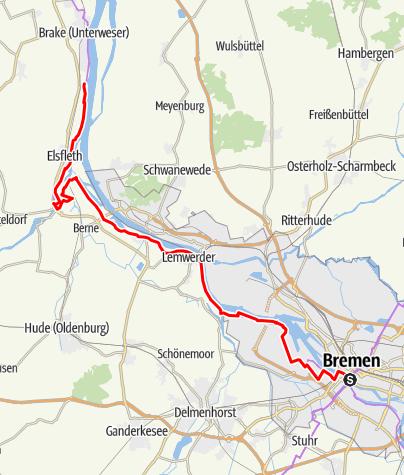 Karte / Weser-Radweg, 12.Etappe: Von Bremen bis Brake