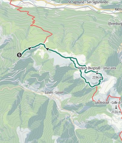 Cartina / Cima Lasta sull'Alpe di Rodengo e di Luson