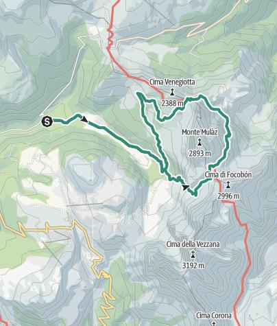Karte / Rundwanderung am Monte Mulaz