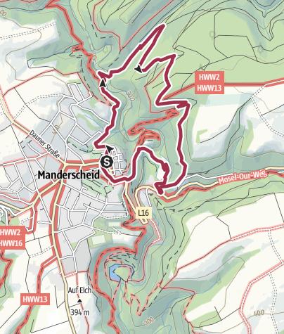 Karte / Vulkaneifel-Pfad: Manderscheider Burgenstieg mit Rittersteig (Rundtour: Manderscheid)