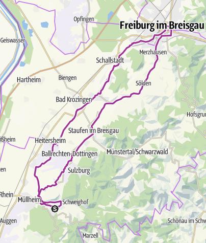 Karte / Radtour nach Freiburg von Badenweiler aus