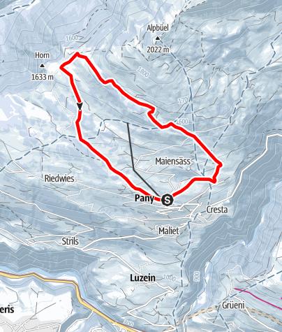 Map / Grosse Dorfrunde Pany (markierter Trail Nr. 11)
