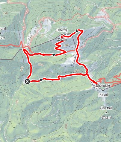 Karte / Zum Oisternig 2031 m vom Uggovizzer Tal über Achomitzer Alm, Feistritzer Alm