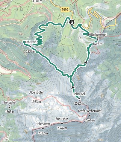 Karte / Hoher Göll, Kehlstein, Berchtesgadener Land
