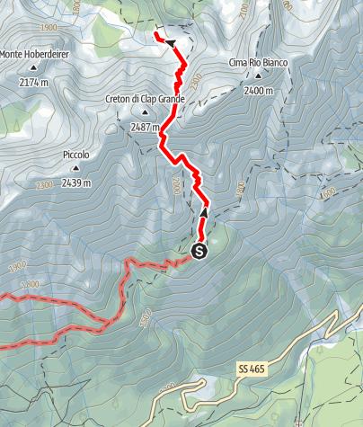 Map / 10 FROM THE DE GASPERI REFUGE TO CADIN DI DENTRO via the forca dell'Alpino - Sappada