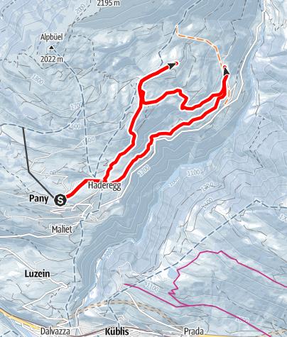 Map / Re-Ra-Rätikon Tour St.Antönien - Pany (markierter Trail Nr. 9)