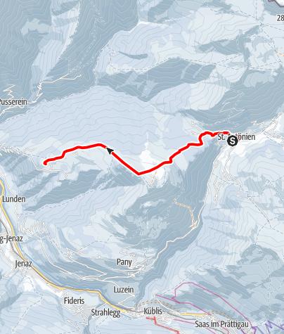 Map / Alp-Tour St.Antönien - Pany (markierter Trail Nr. 8)