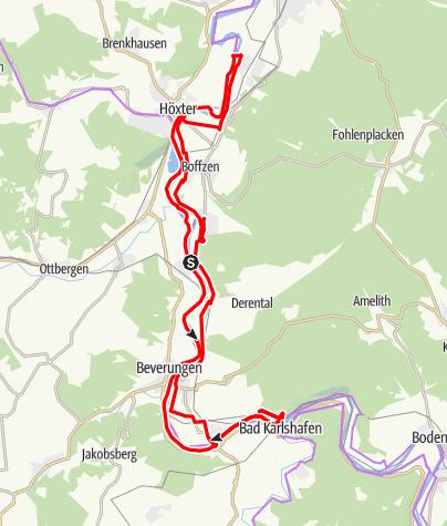 Karte / Weserhöhen - Tourenvorschlag 3: Zwischen Weser-Skywalk und Weltkulturerbe Corvey
