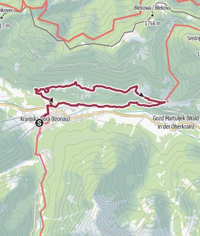 Karte / Kranjska Gora, zum Aussichtsbalkon