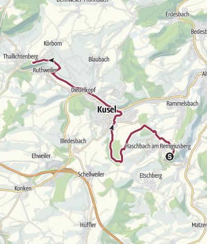 Karte / Haschbach (Remigiusberg) zur Burg Lichtenberg (Rückfahrt mit dem Burgenbus) - Leading-Quality-Trail - Best of Europe