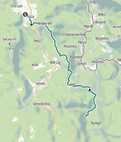 Map / Via Dinarica HR-W-02 Tršće - Sveta gora - izvor Kupe - Crni Lug