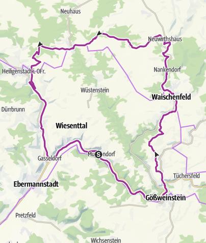 Karte / Burgen-Radrunde innere nördliche Fränkische Schweiz