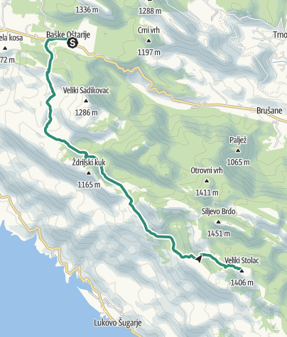 Map / Via Dinarica HR-W-14 Southern Velebit (I) – route to Šugarska duliba