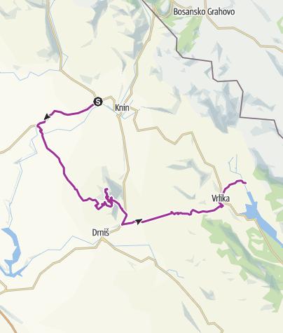 Karte / Via DInarica HR-W-21 Die Promina - Variante der Weißen Linie