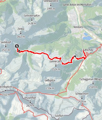 Karte / Montafoner Hüttenrunde - Heinrich Hueter-Hütte über Matschwitz nach Latschau