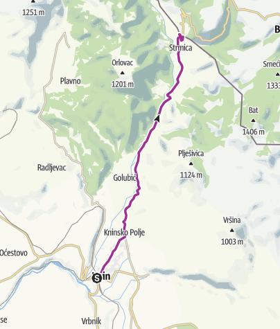 Karte / Via Dinarica HR-W-24 Verbindung auf die Livno-Variante der weißen Linie der Via Dinarica
