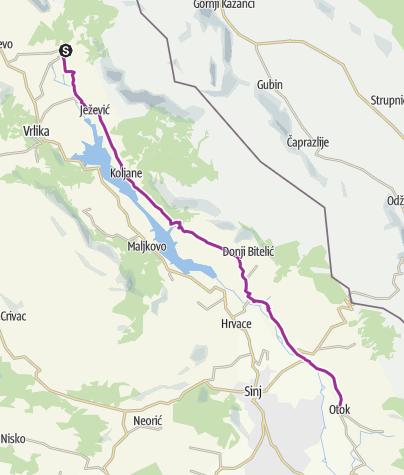 Map / Via Dinarica HR-W-26 Source of the Cetina River - Peruča - Sinjsko polje