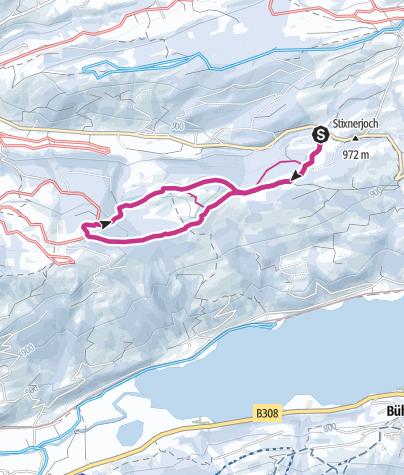 Karte / Winterwanderung zur Siedelalpe und Juget-Alpe