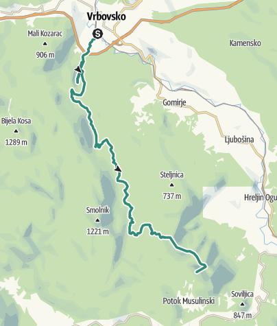 Karte / Via Dinarica HR-G-04 Vom Kamačnik bis zum Klek